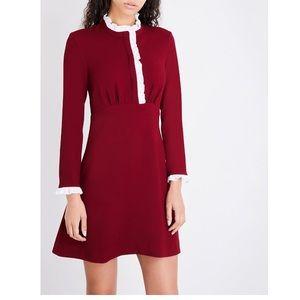 SANDRO Natalia burgundy ruffle crepe dress Large